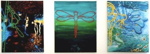 Mitt emellan hopp och förtvivlan - triptyk i akryl,  82 x 100 cm